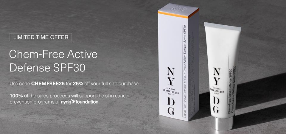 NYDG Chem-Free Active Defense SPF30 Banner